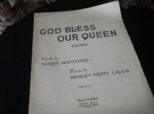 RARE ANTIQUE SHEET MUSIC GOD BLESS OUR QUEEN (MARY) SONG MAPSTONE PRATT EADES